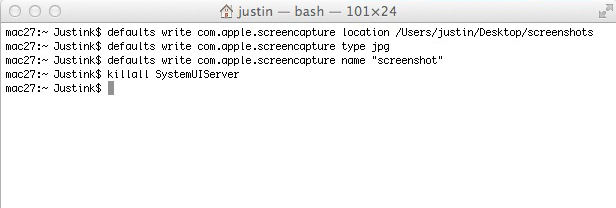 Change Format of Screen Capture on a Mac with Terminal