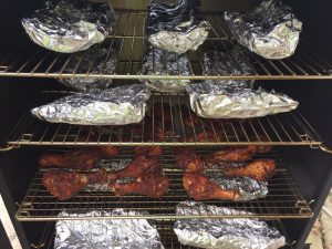 Ribs placed on racks for final baking process